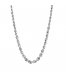 Collier Femme Maille Corde en Chute - Or Blanc