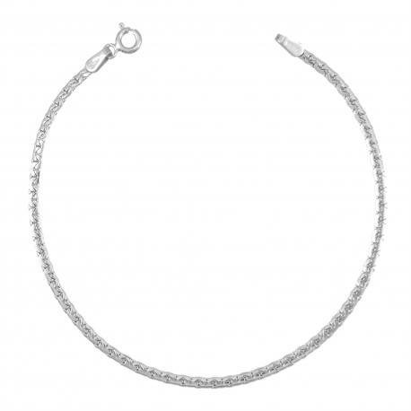 Bracelet Femme Or Blanc - Maille Haricot