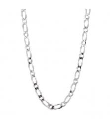 Parure Homme Argent 925 - Bracelet et Collier Maille Figaro Alternée 1+1