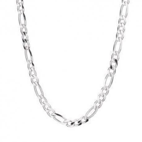 Parure Homme Argent 925 - Bracelet et Collier Maille Figaro Alternée 1+3