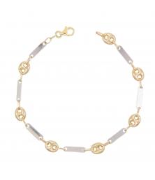 Bracelet Homme Grain de Café Or Bicolore Jaune et Blanc