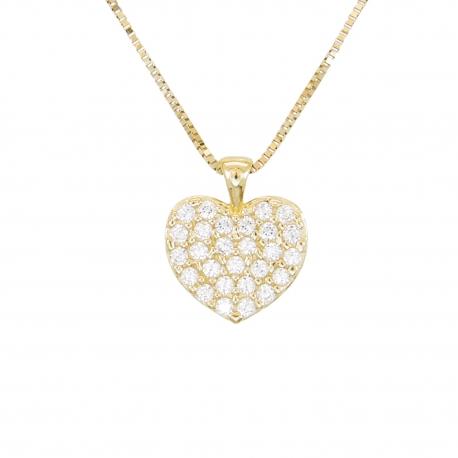 Collier Femme Or Jaune Véritable - Motif Coeur - Pavé de Zirconiums