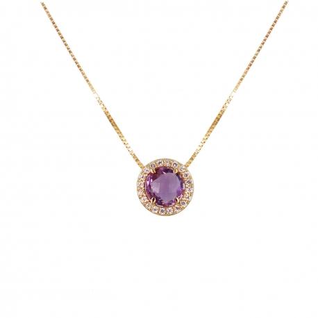 Collier Femme Or Jaune Véritable - Pendentif Améthyste Pavé de Zirconiums