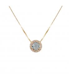 Collier Femme Or Jaune - Pendentif Topaze Bleue Pavé de Zirconiums