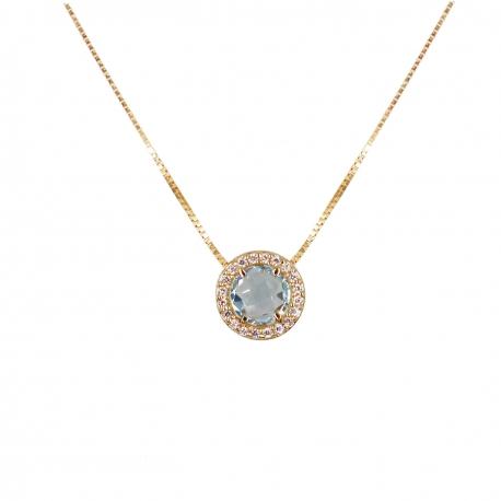 Collier Femme Or Jaune Véritable - Pendentif Topaze Bleue Pavé de Zirconiums