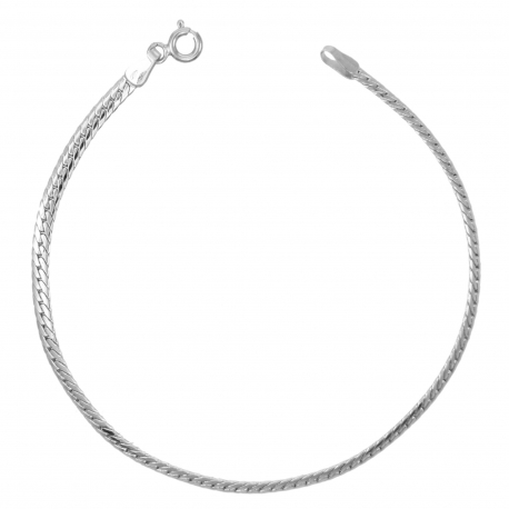 Bracelet Femme Or Blanc - Maille Anglaise