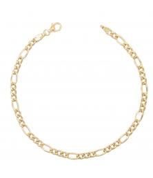 Bracelet Or Jaune 18 Carats - Maille Figaro Alternée 1+3 - Homme