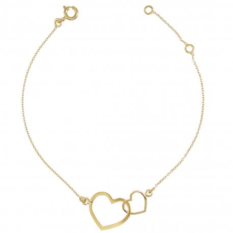 Bracelet Coeurs Enlacés - Or Jaune - Femme