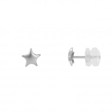 Boucles d'Oreilles Etoiles - Or Blanc - Femme ou Enfant