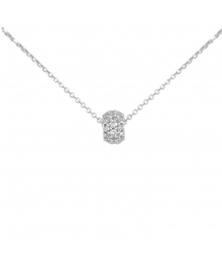 Collier Femme Or Blanc Véritable - Motif Pavé de Zirconiums