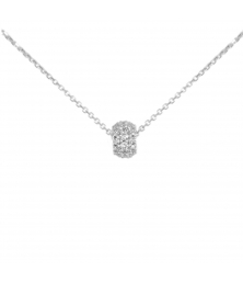 Collier Femme Or Blanc Véritable - Motif Pavé de Zirconiums