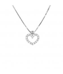 Collier Femme Or Blanc Véritable - Motif Coeur - Pavé de Zirconiums