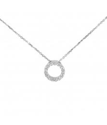 498f118d332 Collier Femme Or Blanc Véritable - Motif Coeur - Pavé de Zirconiums