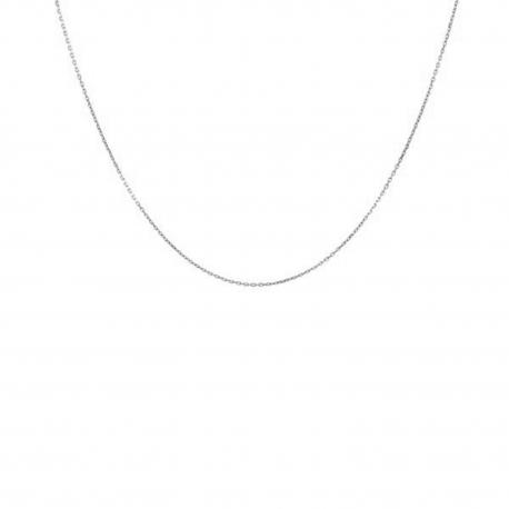 Collier Chaine Forçat Diamantée - Or Blanc Véritable - Femme ou Enfant