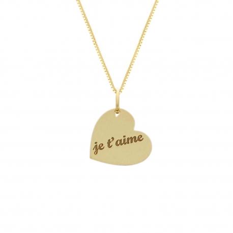"""Collier Femme Or Jaune - Pendentif Coeur Gravé """"Je t'aime"""""""