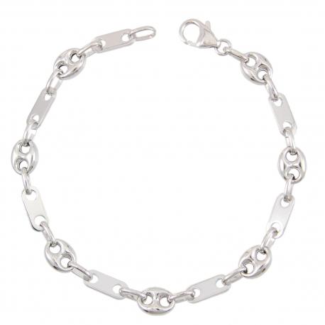 Bracelet Argent 925/000 - Grain de Café - Homme - 21 cm