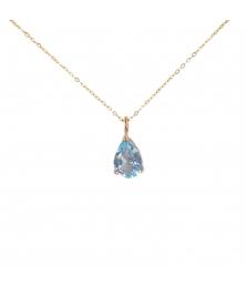 Collier Femme Or Jaune - Pendentif Topaze Bleue forme Goutte / Poire