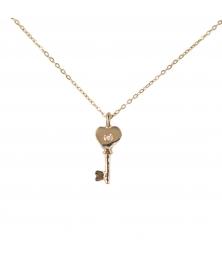 Collier Femme Or Jaune et Diamant - Pendentif Clé d'Amour