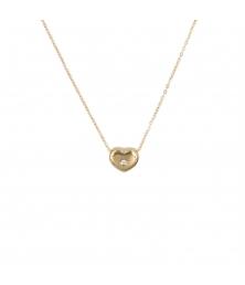 Collier Femme Or Jaune et Diamant - Pendentif Coeur
