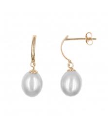 Boucles d'Oreilles Pendantes Perles de Culture - Or Jaune - Femme