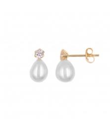 Boucles d'Oreilles Perles de Culture - Or Jaune Véritable - Serties d'un zirconium - Femme
