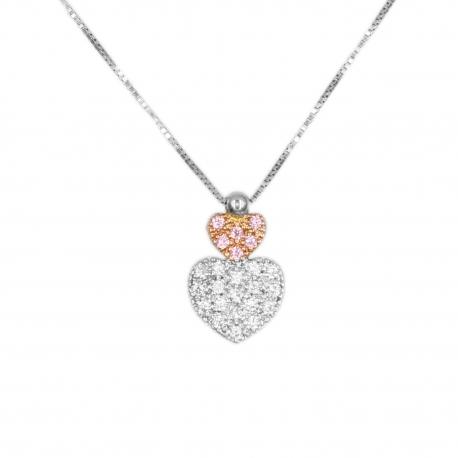Collier Femme Or Blanc et Rosé - Motifs Coeurs - Pavé de Zirconiums