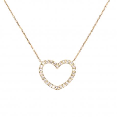 Collier Femme Or Jaune - Motif Coeur - Pavé de Zirconiums