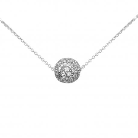 Collier Femme Or Blanc - Pendentif Boule Pavée de Zirconiums