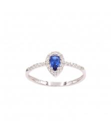 Bague Or Blanc- Goutte Sertie de Zirconiums Saphir Bleu - Femme