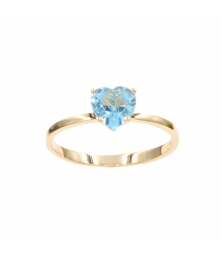 Bague Or Jaune - Coeur Topaze Bleue - Femme