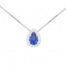Collier Femme Or Blanc - Pendentif Goutte - Zirconium Saphir Bleuet Pavage de Zirconiums