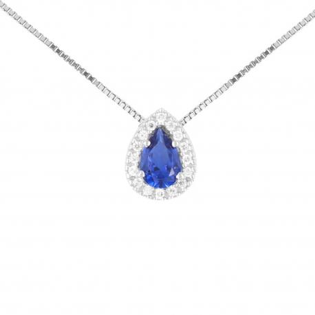 Collier Femme Or Blanc - Pendentif Goutte - Zirconium Saphir et Pavage de Zirconiums