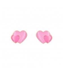 Boucles d'Oreilles Coeurs Laqués Rose - Or Jaune - Femme ou Enfant