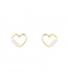 Boucles d'Oreilles Or Jaune - Coeur Serti de Zirconiums - Femme ou Enfant