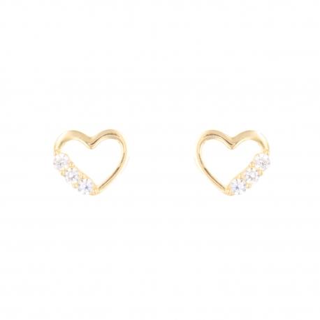 Boucles d'Oreilles Or Jaune - Coeur Pavé de Zirconiums - Femme