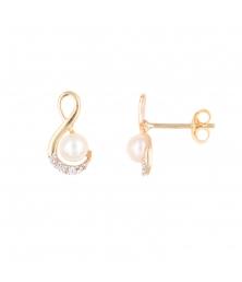 Boucles d'Oreilles Or Jaune - Perle et Inifini Pavé de Zirconiums - Femme