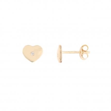 Boucles d'Oreilles Or Jaune - Coeurs Serti Diamant - Femme ou Enfant