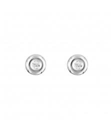 Boucles d'Oreilles Or Blanc - Solitaire Diamant - Femme ou Enfant