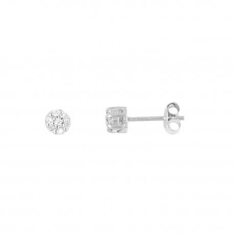Boucles d'Oreilles Or Blanc - Pavé Diamant - Femme ou Enfant