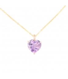 Collier Femme Or Jaune - Pendentif Améthyste forme Coeur