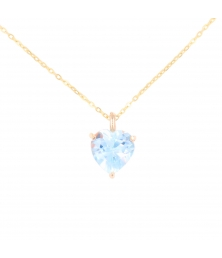 Collier Femme Or Jaune - Pendentif Topaze Bleue forme Coeur