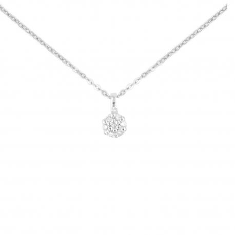 Collier Or Blanc Pavé Diamant - Pendentif - Femme