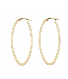 Boucles d'Oreilles Créoles - Or Jaune Finition Diamantée - Femme
