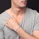 Bracelet Homme Argent 925 - Maille Figaro Alternée 1+1