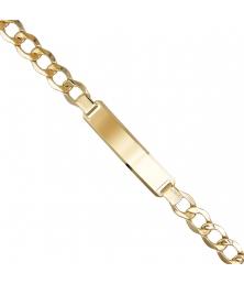 Bracelet Homme Maille Gourmette 24cm - Or Jaune - Gravure Offerte