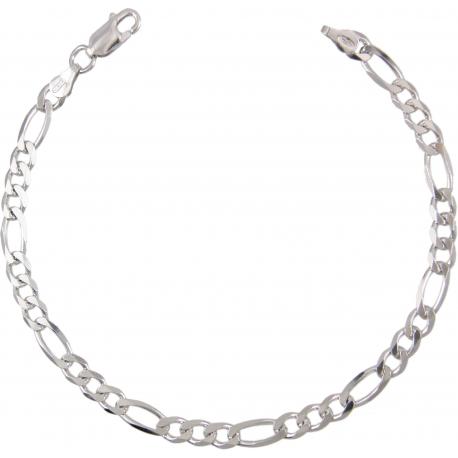 Bracelet Homme Argent 925 - Maille Figaro Alternée 1+3