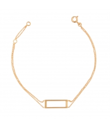 Bracelet Or Jaune - Femme - Motif Rectangle - Double Chaîne