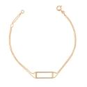 Bracelet Or Jaune - Femme - Motif Rectangle - Double Chaîne