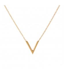 Collier Motif Forme V - Or Jaune - Femme