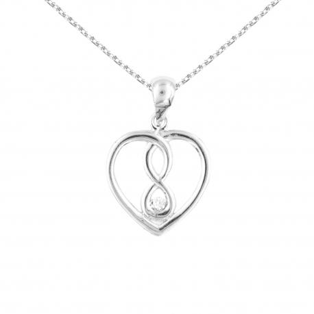 Collier Coeur Infini - Pendentif Or Blanc et Diamant - Femme